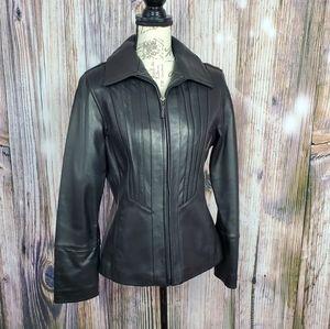 Avanti New York Black Leather Jacket Medium